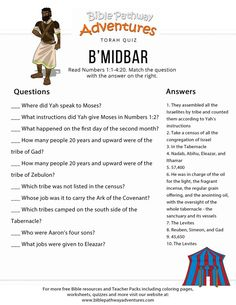 Image result for bamidbar bible quiz images
