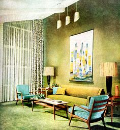 Living Room (1955) American Home Magazine - The high ceilings are nice