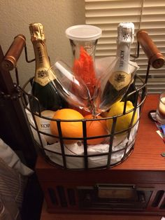 Champagne gift basket we made
