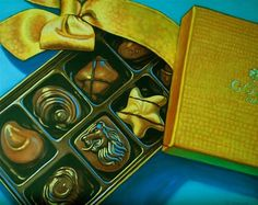 """Chocolate Surprise"" - Original oil painting,- © 2015 Margaret Horvat.  View more original art by Margaret Horvat at www.horvatart.com."