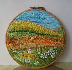 Quiet Place by dozydotes (flickr) #embroidery #sewing #crafts #handmade #sewn #flowers #landscape #fields