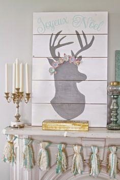 Nesting in the Bluegrass: OH Deer mantel artwork (made with the help of the Silhouette)