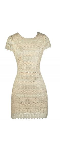 Lily Boutique Doily Desire Capsleeve Crochet Lace Sheath Dress in Beige, $38 Beige Capsleeve Lace Dress, Beige Lace Party Dress, Cute Beige Dress www.lilyboutique.com
