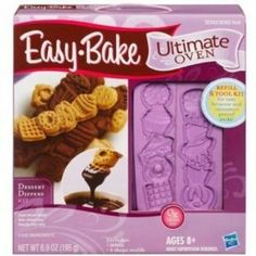 Easy Bake Ultimate Oven Refill And Tool Kit - Dessert Dippers by Hasbro. $12.99. Ready, set, bake. When your sweet tooth is achin' for something tasty, whip up some satisfying sweets with your Easy-Bake Oven and Snack Center and these delicious mix refills. Simply mix up the ingredients from one of the food packets and place them inside the oven to bake. You'll love chocolate dip for your cinnamon sticks and brownies made in your very own Easy-Bake oven. It includes ...