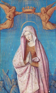 "Manuscript illuminator workshop of Jean Poyer, ca 1500,""Coronation of the Virgin"", Book of Hours, Tours."