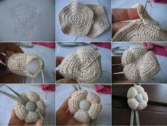 Amigurumi Flower Tutorial for Crochet, Knitting. Crochet Diy, Crochet Vintage, Mode Crochet, Crochet Amigurumi, Crochet Gifts, Crochet Motif, Irish Crochet, Crochet Stitches, Appliques Au Crochet