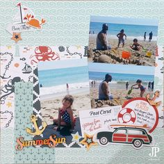#papercrafting #scrapbook #layout - Summer Sun Scrapbook Page by Jennifer Priest Tombow Fancy Pants