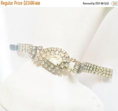 Bracelet Clear Rhinestones Vintage Wedding Jewelry Bridal Party Prom Silvertone Setting Gift for Her Mother's Day Birthday Christmas