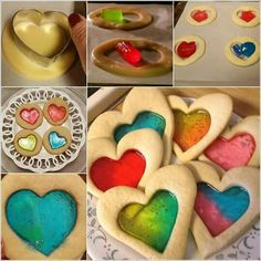 Heart cokies with melted jelly