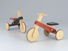 Tricycle for kids made in lacquered wood and varnished wood with matte finishing Wood Projects For Kids, Kids Wood, Woodworking For Kids, Woodworking Wood, Tricycle, Baby Bicycle, Wood Bike, Unique Toys, Got Wood