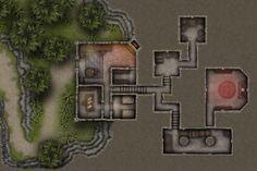 FREE Mountain Cottage 20x30 Battlemap! [OC] : battlemaps Dungeon maps Tabletop rpg maps Fantasy map