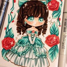A random chibi I wanted to draw a princessy design using teal. I hope you guys…