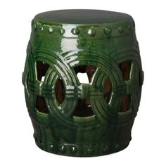 This Eternity ceramic garden stool with a Green glaze is the perfect touch to any indoor or outdoor space. It can be used as a small side table, an extra-seat or as a planter pedestal. This collection offers the best combination of design and glazes. Ceramic Stool, Ceramic Garden Stools, Decorative Accessories, Things To Think About, Pottery, Ceramics, Green, Glaze, Pedestal