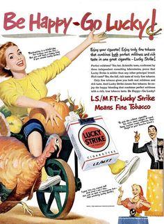 vintage thanksgiving ads | Vintage Thanksgiving ad - Lucky Strike cigarettes (1950)