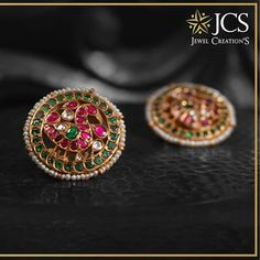 Stylish Gold Earstud From JCS Jewel Creations ~ South India Jewels - Stylish Gold Earstud From JCS Jewel Creations ~ South India Jewels - Gold Jhumka Earrings, Jewelry Design Earrings, Gold Earrings Designs, Indian Earrings, Bead Jewellery, Designer Earrings, Silver Jewellery, Silver Rings, Jewellery Sale