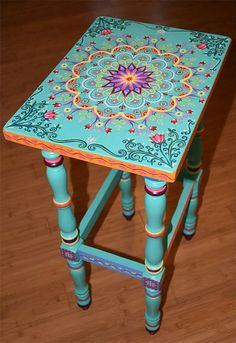 Painted Furniture Hand painted solid wood accent table size 17 x by SunSoulCreations Art Furniture, Funky Furniture, Repurposed Furniture, Unique Furniture, Furniture Makeover, Timber Furniture, Furniture Design, Whimsical Painted Furniture, Painted Chairs