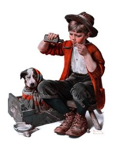 """Sick Puppy"", March 10,1923 Giclee Print by Norman Rockwell at Art.com"