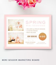 Spring Mini Session, Photography Marketing Board - Photoshop Template for Photographers - INSTANT DOWNLOAD by ByStephanieDesign on Etsy