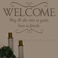 YOURE OUR GUEST Entryway Wall Decal House Pinterest Vinyls - Wall decals entryway