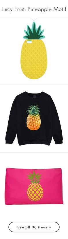 """""""Juicy Fruit: Pineapple Motif"""" by polyvore-editorial ❤ liked on Polyvore featuring pineapplemotif, accessories, tech accessories, cases, phone cases, phone, tech, yellow, miss selfridge and tops"""