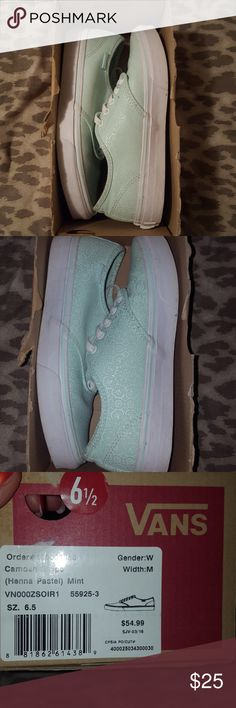 Women's size 6.5 Mint Vans Excellent condition in original box very lightly used a few times I was trying to get myself used to a different style other than Nike and needless to say I'm a nike girl haha they are absolutely beautiful and I love the color as well any question just ask. Vans Shoes