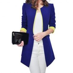 $16.29 Color Block Fashionable Style Polyester Long Sleeves Blazer For Women