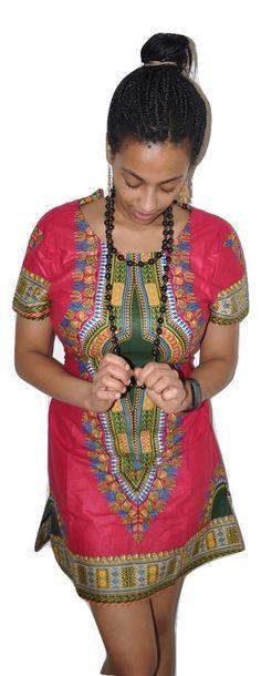 Dashiki African Print Dress - Deep Pink & Green