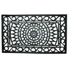 Entryways Sunburst Recycled Rubber Doormat by Entryways. $34.99. Made from recycled rubber and natural latex. 18 in x 30 in. The rubber will remove dirt and moisture into its scrollwork; it's easy to clean by hosing down. This mat has the rich look of traditional Victorian wrought iron at an affordable price with ease of cleaning.