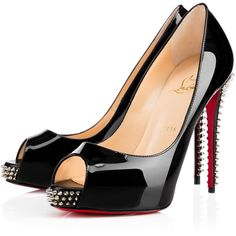 Christian Louboutin Nvps ($995) ❤ liked on Polyvore featuring shoes, christian louboutin, black, open toe high heel shoes, black shoes, black open toe shoes, miniature shoes and patent shoes