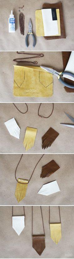 DIY Leather fringe necklace