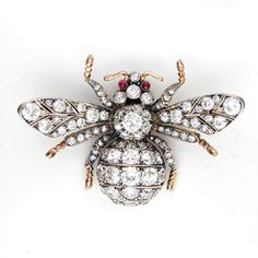 A DIAMOND SET BEE BROOCH Don't know what it is with bees... Love it