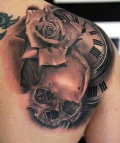 Rose, skull, clock, tattoo.