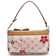 e9203c5f3a Limited Edition Cherry Blossom Murakami White Pink and Red Monogram Lv  Canvas Shoulder Bag