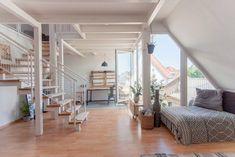Wunderschöner Ess-/Wohnbereich einer Dachgeschosswohnung in Hannover. #Wohnung #Dachgeschosswohnung #Wohnzimmer #Einrichtung #Sofa #Schlafsofa #homeinterior #flat #livingroom #interior #design