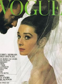 "VOGUE, Paris, May Cover: Audrey Hepburn and Mel Ferrer photographed by Bert Stern. Words on cover: ""Audrey Hepburn Chez Givenchy."" Included in this issue is the fashion editorial ""The Givenchy Idea"" with Audrey Hepburn and Mel Ferrer. Vestido Audrey Hepburn, Robes Audrey Hepburn, Audrey Hepburn Pictures, Audrey Hepburn Born, Katharine Hepburn, Audrey Hepburn Givenchy, Capas Vintage Da Vogue, Vogue Vintage, Vintage Vogue Covers"