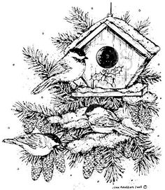 Northwoods Rubber Stamps - Wood Mounted - Chickadee Trio and Birdhouse