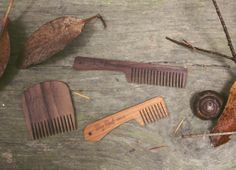 Wooden beard combs in their natural habitat