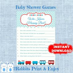 Train Baby Shower Game Who Knows Mommy Best- Transportation Baby Shower Who Knows Mommy Best Game-Instant Download  #trainbabyshower #babyshowerprintablegames #transportationbabyshower #whoknowsmommybestgame