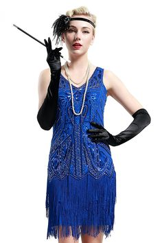 27b0ac9214b4df BABEYOND Women's Flapper Dresses 1920s V Neck Beaded Fringed Great Gatsby  Dress (Label L/