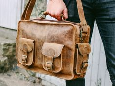 Cool, classic, men's vintage leather travel bag inspired by the Pan-Am and BOAC airline flight bags from the Mens Leather Satchel, Leather Men, Mens Travel Bag, Travel Bags, Travel Gifts, College Book Bag, Hand Luggage Bag, Vintage Leather, Men's Vintage