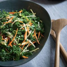 Quick and easy to make, this kale salad includes sweetness from apples and carrots, and the unique flavors from the julienned rutabaga.