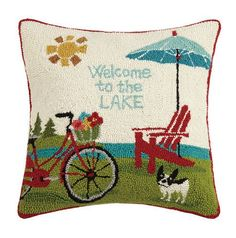 Welcome to the Lake Hooked Pillow 18 x 18