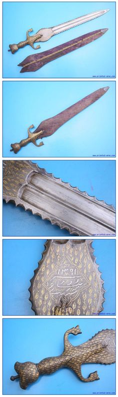 Indo-Afghan pahari sword (cobra sword), rightfully describing the mixed Indian and Afghan elements, characterized by the Afghan style handle and Indian straight blade bulged at the ricasso. This one is a short version of classical style: 17 ½ inches blade, widens to 2 ½ inches at its top. Steel handle. Both blade and handle are decorated with gold koftgari inscription and floral design. Wood scabbard with the original fabric cover and a silver chape. Total length 22 ½ inches.