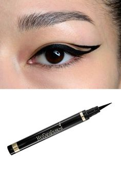 Graphic Lines Seen at: Mara Hoffman  How-to: The shape on this is similar to the cat eye except there is an extra line that is lifted above the lash line, along the crease. Apply this liquid pen along the lash line and flick it out for a winged tip, and then draw the second line on the crease and connect the two on the outer edges.  Yves Saint Laurent Eyeliner Effet Faux Cils Bold Felt Tip Pen, $34 at Nordstrom