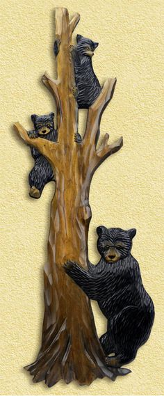 Bear Family in Tree Hand-Carved Wooden Wallhanging - American Expedition