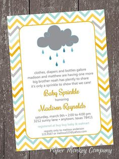 Chevron Baby Sprinkle - Clouds - Rain - Sprinkle - Baby Shower Invitation - each with envelope from Paper Monkey Company Baby Sprinkle Invitations, Baby Shower Invitations, Party Invitations, Stationery Set, Personalized Stationery, Rain Baby Showers, Rain Shower, Mickey Mouse Birthday Invitations, Party Planning