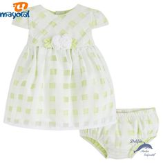 Vestido de bebe MAYORAL newborn organza cuadros color lima