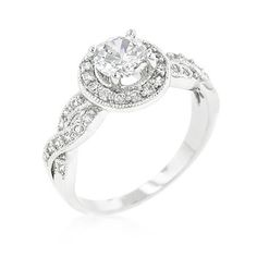 J Goodin Round Cut Halo Engagement Ring Size 9