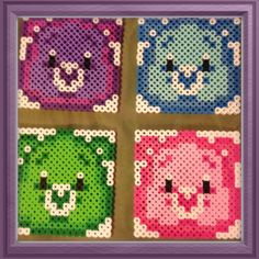 Set of 4 Care Bears Coasters perler beads by GirlMeetsWine