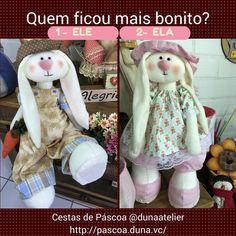Qual você achou mais bonito o coelho ou a coelha? VOTAÇÃO!  Responda 1 para ele Responda 2 para ela  http://pascoa.duna.vc  #CosturaArtística #Artesanato #Páscoa #Patchwork #curso
